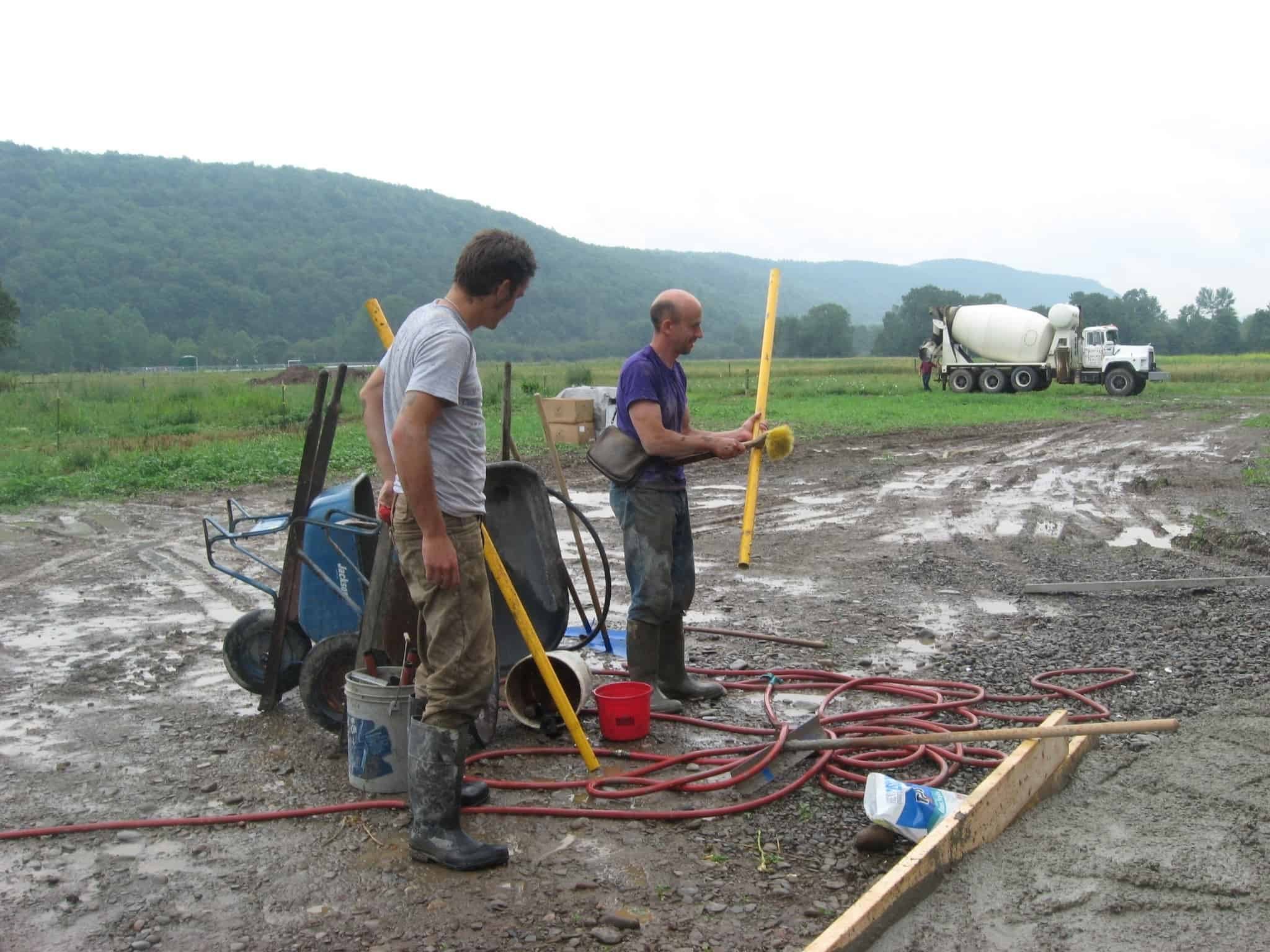 Andrew and Ezra cleaning-up after the pour.