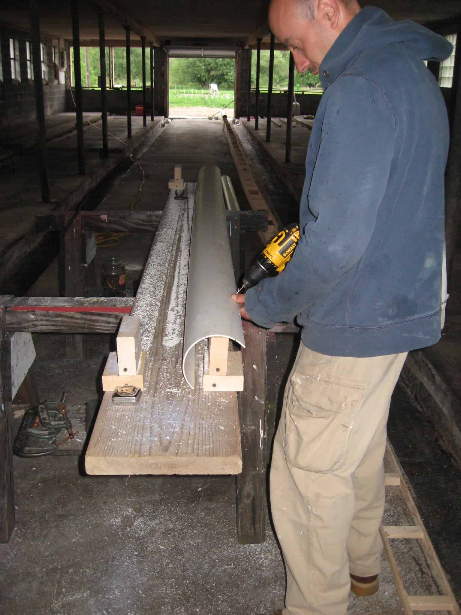 Ezra making trench drain form.