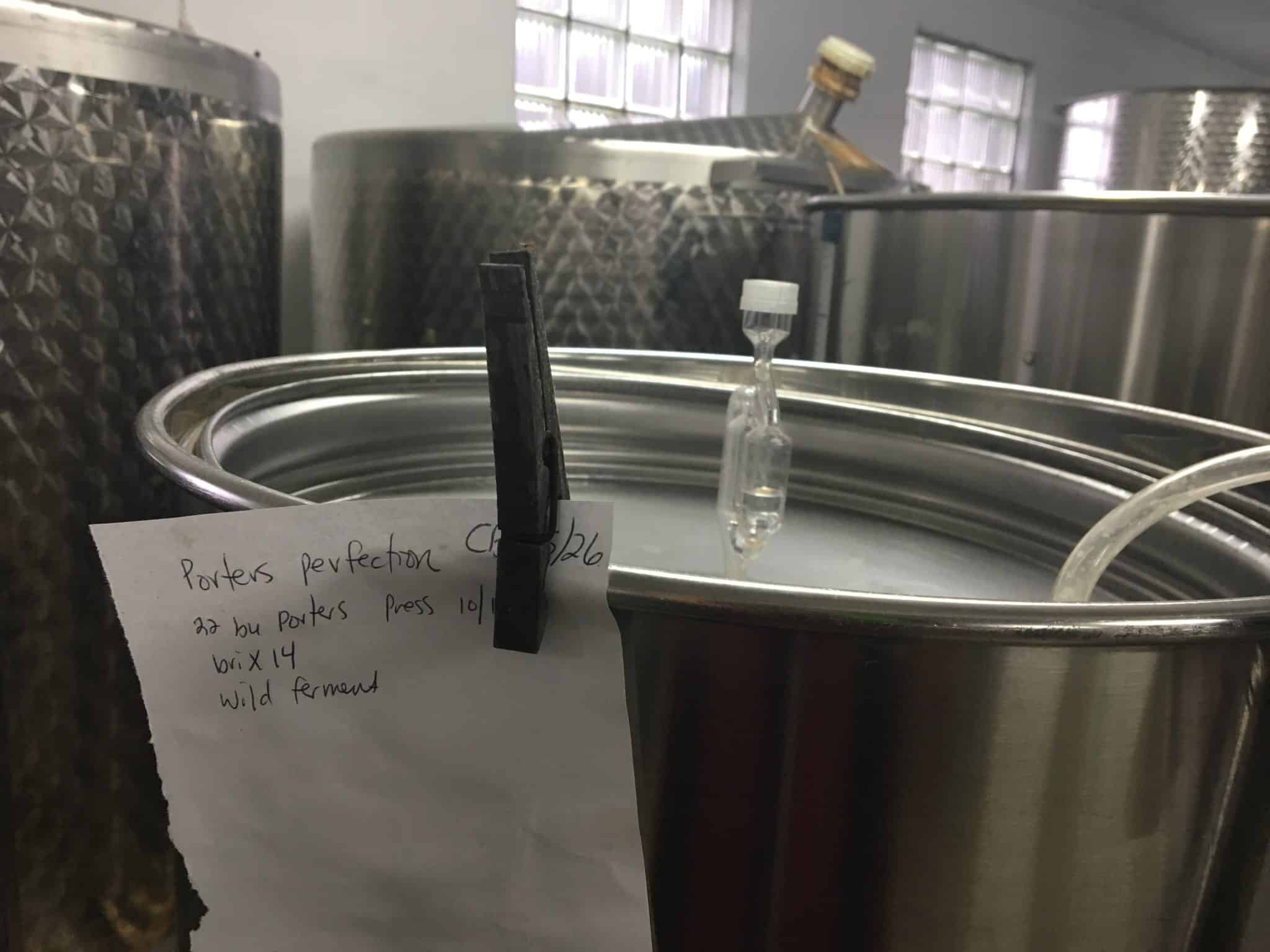 several tanks of 2017 cider in it's primary fermemtation