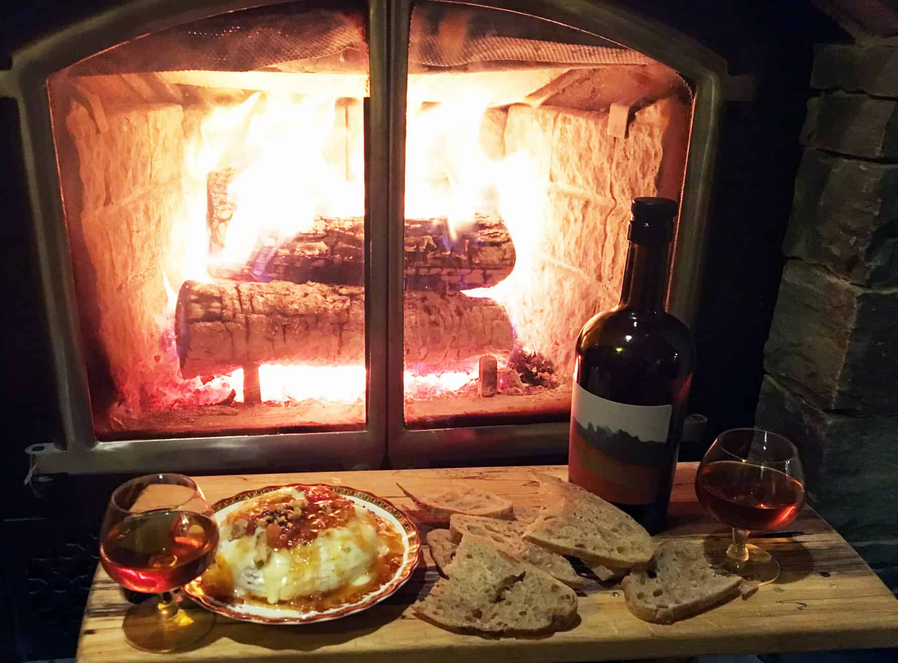 Baked Brie and Pommeau by the Fire