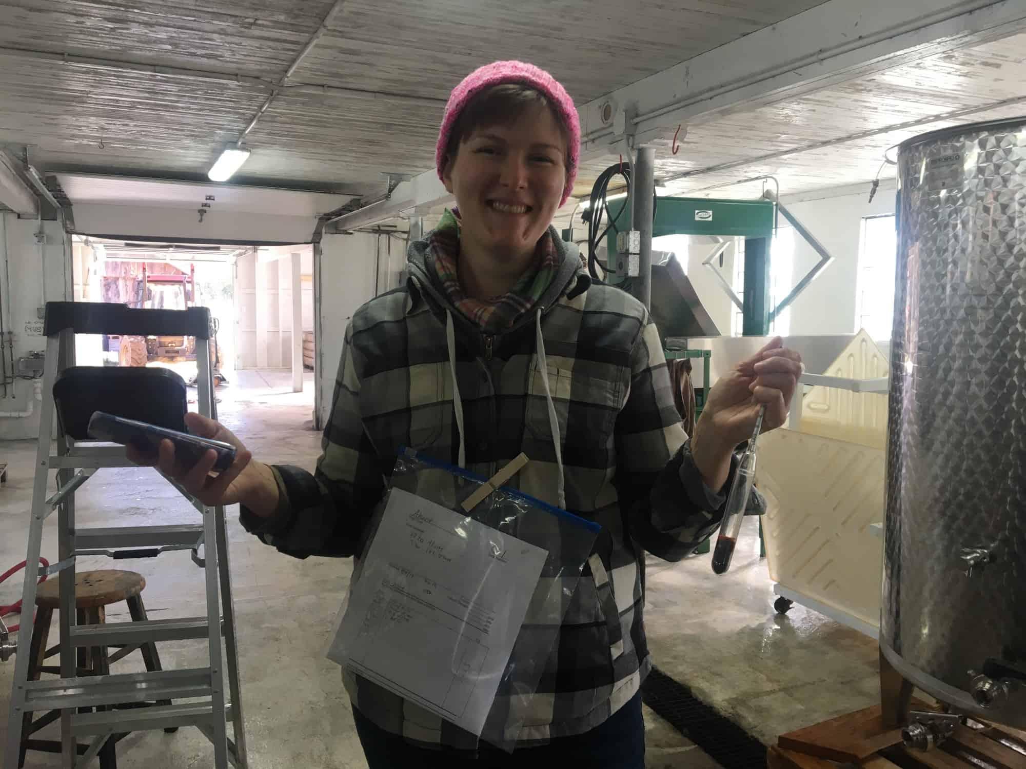 Cathryn Doing Fermentation Checks